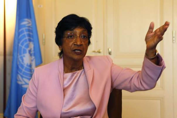 Outgoing U.N. Human Rights Commissioner Navi Pillay talks during an interview to Reuters in her office in Geneva, Switzerland, August 19, 2014. REUTERS/Ruben Sprich