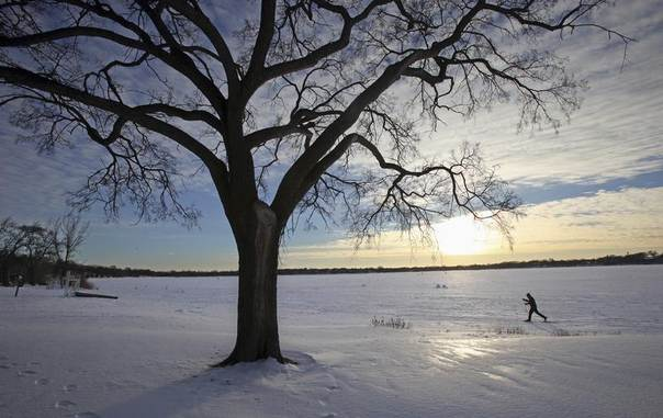 A cross-country skier makes his way across Lake Calhoun in Minneapolis, January 7, 2014. REUTERS/Eric Miller