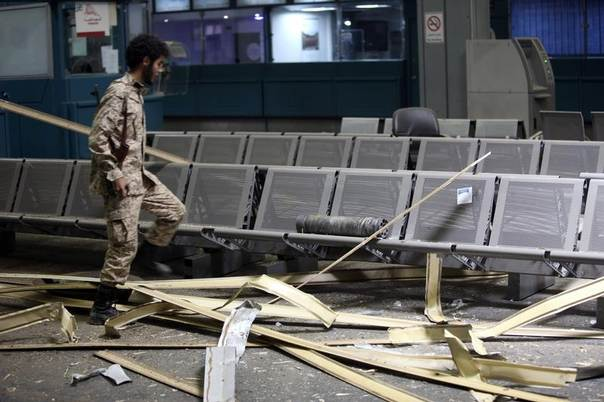 The inside of a damaged terminal is seen after a shelling at Tripoli International Airport, Libya, July 17, 2014. REUTERS/Hani Amara