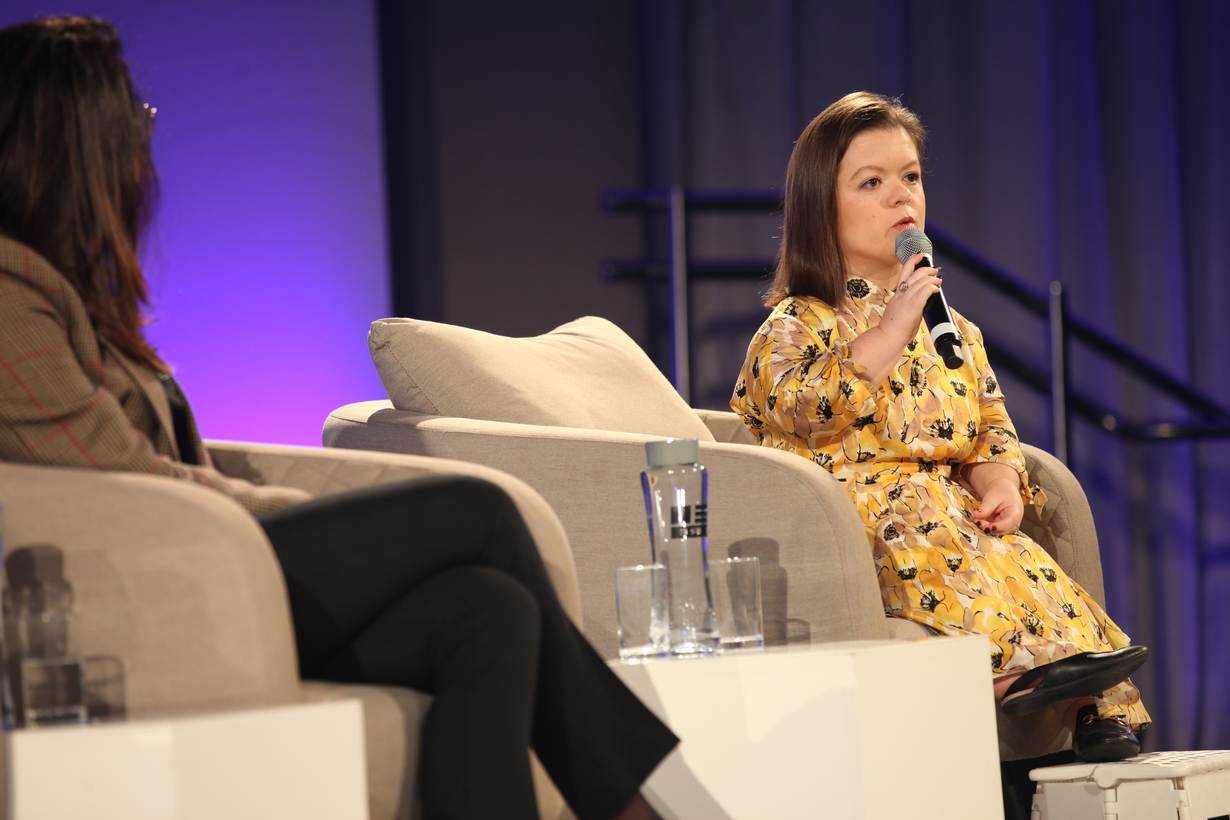 Sinead Burke speaks during the Thomson Reuters Foundation's annual conference in London, November 13, 2019. THOMSON REUTERS FOUNDATION/Mareike Günsche