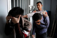 Two men were sentenced to 85 lashes for having sex together in Banda Aceh, Indonesia
