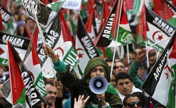 Protesters shout slogans as they take part in a demonstration in support of independence for Western Sahara, in Madrid, Nov. 10, 2012. REUTERS/Juan Medina
