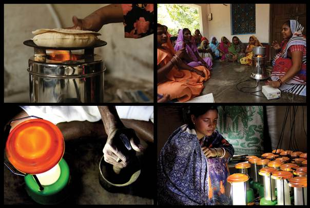 (Top left to Bottom left clockwise): Cookstove being used to make chapati (Indian bread); a self help group leader demonstrating the usage of cookstove; woman entrepreneur at a solar charging station; a village doctor preparing an Ayurvedic  medicine. Photo Courtesy: Ahona Datta Gupta and Rima Mondal