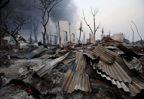 A burnt house is seen in Meikhtila