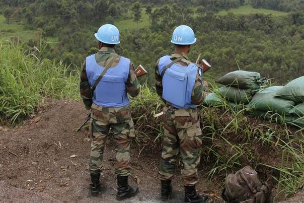 U.N. peacekeepers at Kibati Three Towers, 5 km (3 miles) north of the North Kivu provincial capital Goma, Democratic Republic of Congo, October 6, 2013. REUTERS/Michelle Nichols