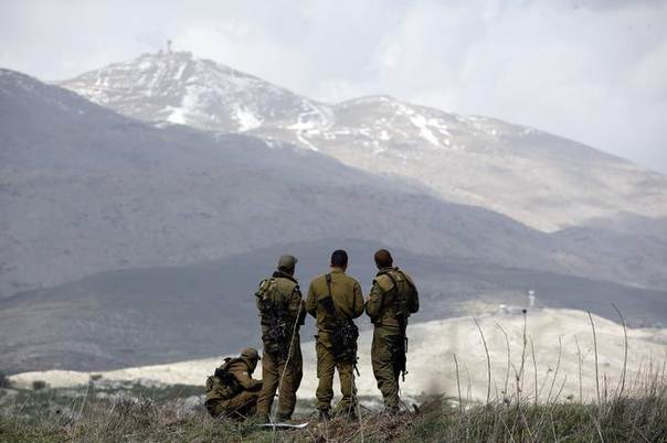 Israeli soldiers stand on a field overlooking Syria in the Golan Heights March 19, 2014 REUTERS/Ronen Zvulun