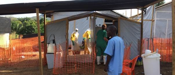 An ebola health facility is seen from the outside ©EU/ECHO