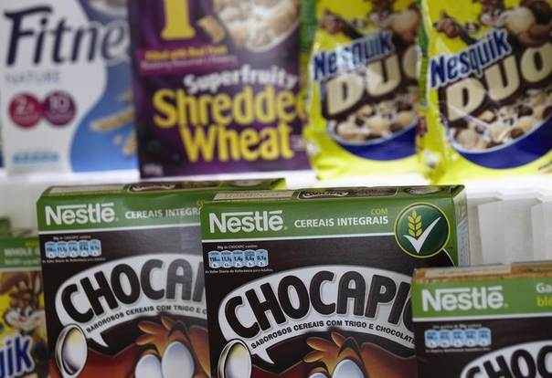 Packets of Nestle cereals are pictured at the Innovation Center of Cereal Partners Worldwide, a joint venture between Nestle and General Mills to address health concerns, in Orbe, Switzerland, Oct. 11, 2012. REUTERS/Denis Balibouse
