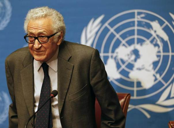 Arab League envoy for Syria Lakhdar Brahimi arrives at a news conference at the U.N. headquarter in Geneva January 24, 2014. REUTERS/Jamal Saidi