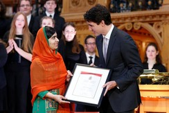 Canada's PM Justin Trudeau presents Malala with citizenship