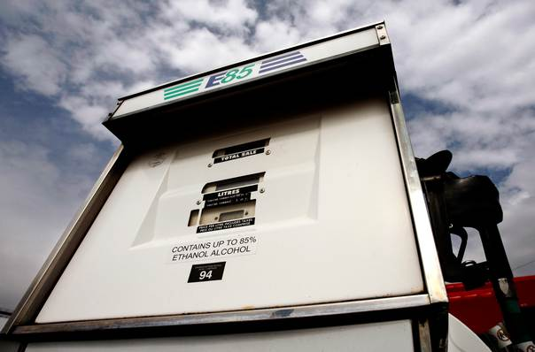 An ethanol fuel pump is seen at a UPI Energy gas station in Chatham, Ontario, Canada, on April 11, 2008. REUTERS/Mark Blinch