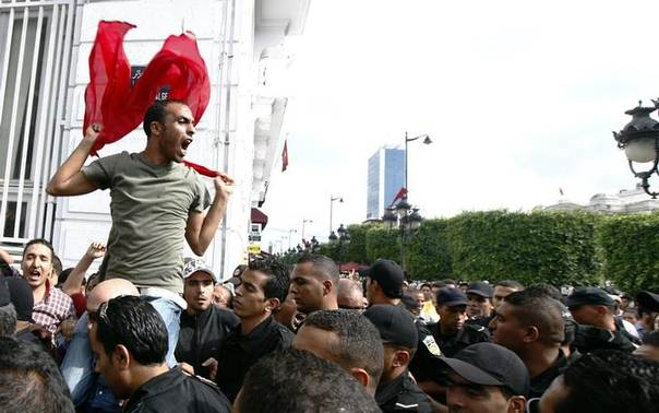 A protester shouts slogans during a protest against the government on the first anniversary of the first free Tunisian election, in Tunis October 23, 2012 REUTERS/Anis Mili